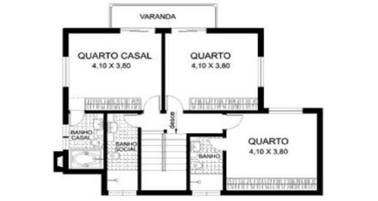 Planta casa 03 - Plantas de casas com 2 banheiros